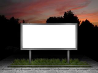 illustration of a blank street advertising panel at dusk