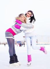 girls ice skating