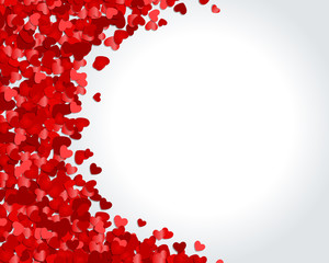 Red hearts confetti vector background