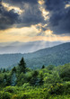 Sunbeams Light Rays Over Appalachian Blue Ridge Mountains