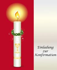 Einladung zur Konfirmation in rot für Mädchen