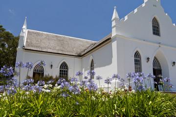 White church with allium