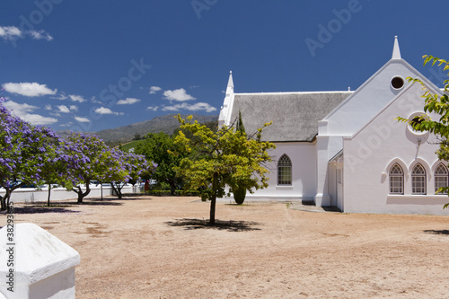 White church with trees