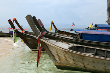 Long tail wooden boats Phi Phi Islands, Thailand