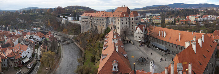 panorama of Cesky Krumlov castle and city below