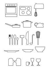 küchenutensilien symbol set