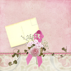 pink ribbon with old postcard