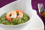 Risotto with greens and prawns