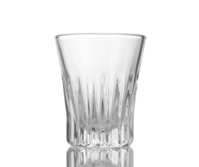 An empty wineglass isolated on white