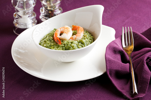 Rice with greens and shrimps