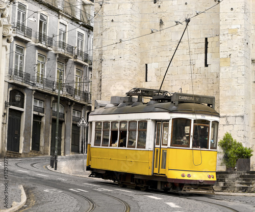 classic yellow tram of Lisbon, Portugal