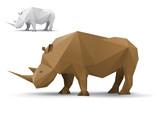Rhino stylized triangle polygonal model poster
