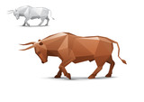 Angry bull stylized triangle polygonal model poster