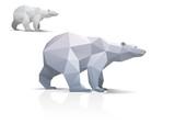 Polar bear stylized triangle polygonal model poster