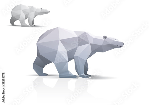 Polar bear stylized triangle polygonal model