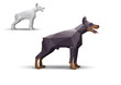 Doberman stylized triangle polygonal model