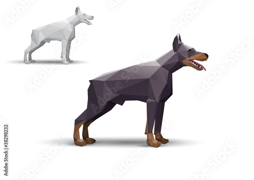 Deurstickers Geometrische dieren Doberman stylized triangle polygonal model