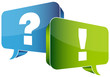 Speech Bubbles Question Blue & Answer Green