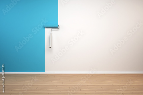 wand wird blau gestrichen von lizenzfreies foto 38301279 auf. Black Bedroom Furniture Sets. Home Design Ideas