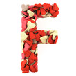 Letter F, made from soft cushions in the shape of Hearts.