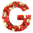 Letter G, made from soft cushions in the shape of Hearts.