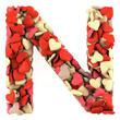 Letter N, made from soft cushions in the shape of Hearts.