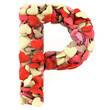 Letter P, made from soft cushions in the shape of Hearts.