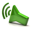Green speaker icon on white background