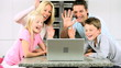 Caucasian Family Having Online Webchat at Home