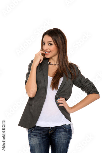 beautiful female secretary isolated on a white background