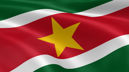 Surinamese flag in the wind