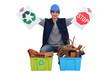 Tradesman encouraging recycling