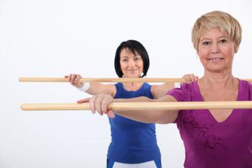 Women in an aerobics class