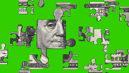 U.S. $100 Dollar Bill Puzzle green screen, HD