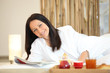 relaxing, woman, bathrobe,