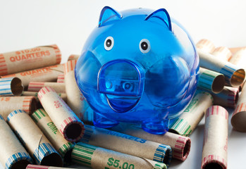 Blue Piggy Bank With Coin Wrappers