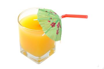 Glass of Orange Juice with Umbrella Straw Isolated on White