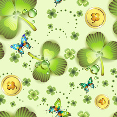 Seamless pattern with clover and coins