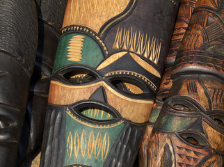 Hand made African wooden mask