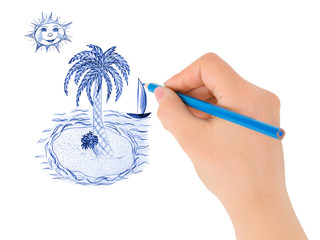 Hand drawing tropical island