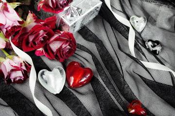 Hearts over Black Textile Still Life