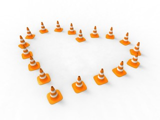 orange traffic cone-shaped.Heart on white background