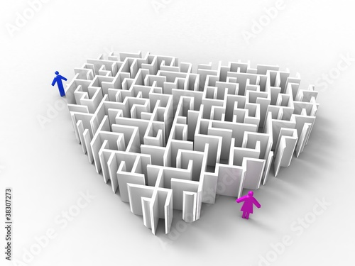 a maze-like.heart and a couple on white background