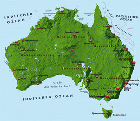 Australien mit Schummerung