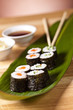 exclusicve sushi rolls on the leaf