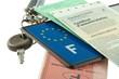permis de conduire, plaque d'immatriculation, clés