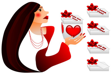 Woman holding gift box with a big red bow, hearts and message