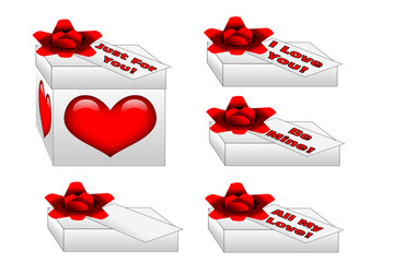 Gift box with a big red bow, hearts and special message