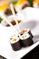 sushi rolls closeup