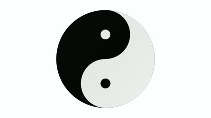 Yin Yang building on a white background